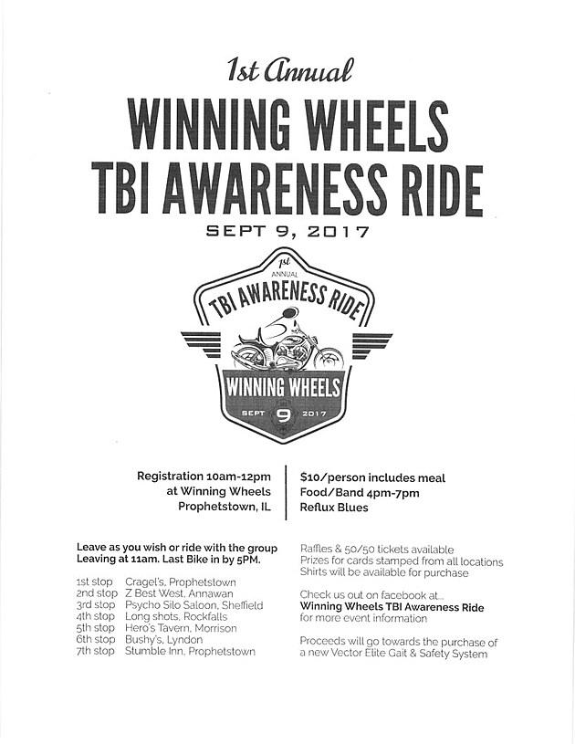 Winning Wheels TBI Awareness Ride Flier