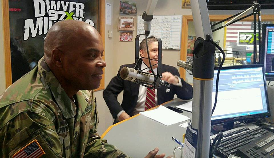 "LTG Stephen M. Twitty, Commanding General, First Army, and Jeno Berta on ""QC Veterans' Roll Call"" radio show."