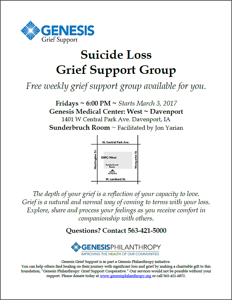 Information on Genesis' Suicide Loss Grief Support Group.