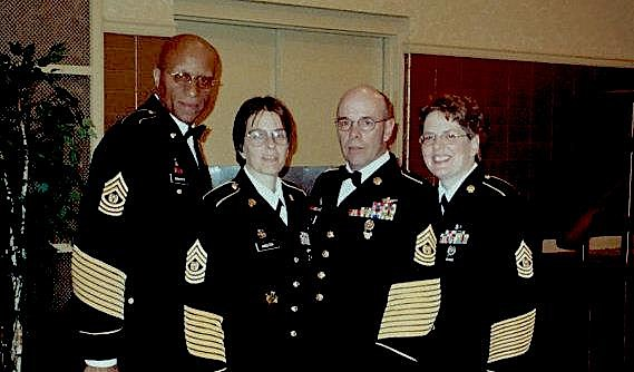 From left to right:  CSMs Merritt, Minster, Long and Lynn, Ft. Dix Dining In, 2004 (or there about).  Photo credit to Dedrea Lingo-Boyce.