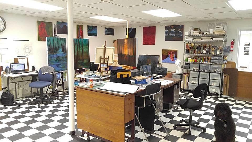 """A photo of Ken's studio, """"The Artist's Vault."""""""